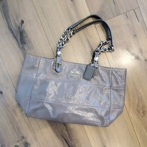 Coach Grey Patent Leather Tote